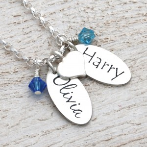 Silver Personalised Name Charms Necklace