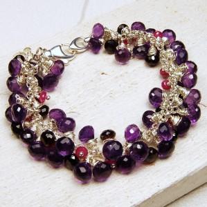 Handmade Sterling silver amethyst garnet and sapphire gemstone bracelet 1