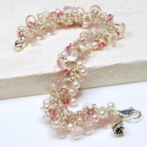 Handmade sterling silver rose quartz mystic pink topaz and white round pearl bracelet 4