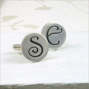 Etched Initial Cufflinks 6