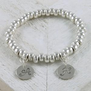 Handmade personalised sterling silver slinky bracelet