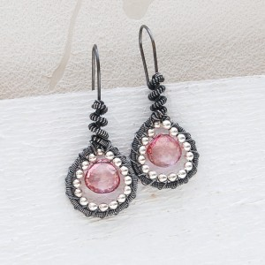 Handmade silver and pink msytic Topaz wire wrapped earrings 2