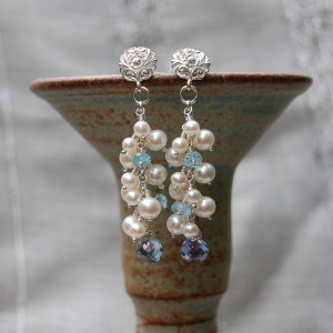 Handmade Pearl, Aquamarine and blue Iolite Dangle Earrings 5
