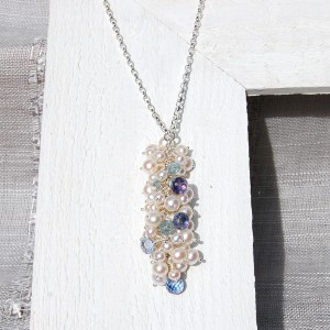 Handmade Pearl,Aquamarine and blue Iolite Necklace 4