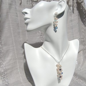 Hanmade Pearl, Aquamarine and blue Iolite Dangle Earrings 3
