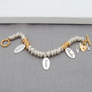 Silver and Gold Vermeil Rings Bracelet with Single Name Charm and Angel Wings 6
