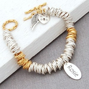 Silver and Gold Vermeil Rings Bracelet with Single Name Charm and Angel Wings Cluster Main Image